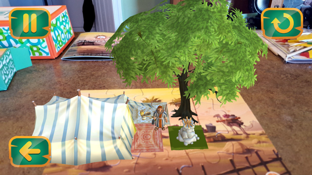 Puzzle animated, viewed through the app